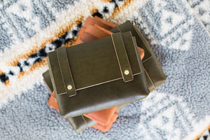 Olive Leather Versatile Mini Clutch Fall Collection