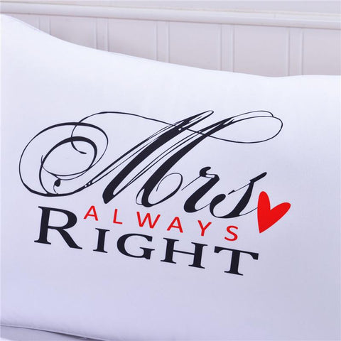 MR & MRS Right Couples Pillow Cases