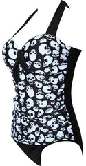 One Piece Push Up Skull Swimsuit