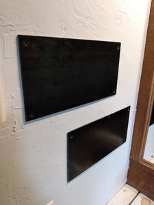 "STEEL WALL PANEL: 6""x12"" rectangle. 12 gauge steel. Countersunk holes. Clear coat. 4 black drywall screws incl. Display magnetic shelves"