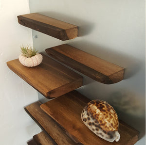 SHELFIE: Walnut magnetic shelf ledge for metal walls & surfaces, floating, wall, and display shelves or pictures. Refrigerator shelf. Spices