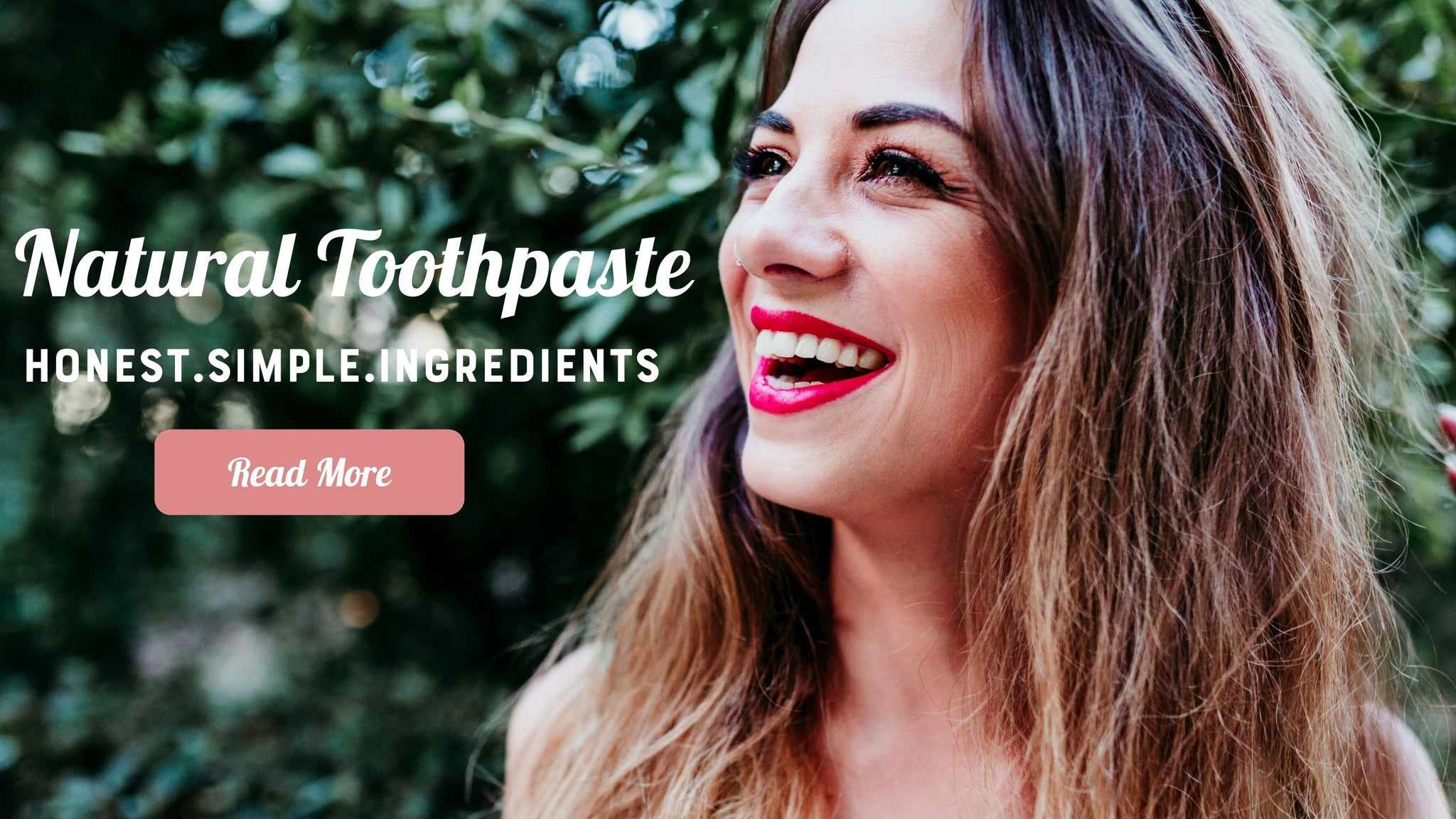 Girl smiling with natural toothpatse