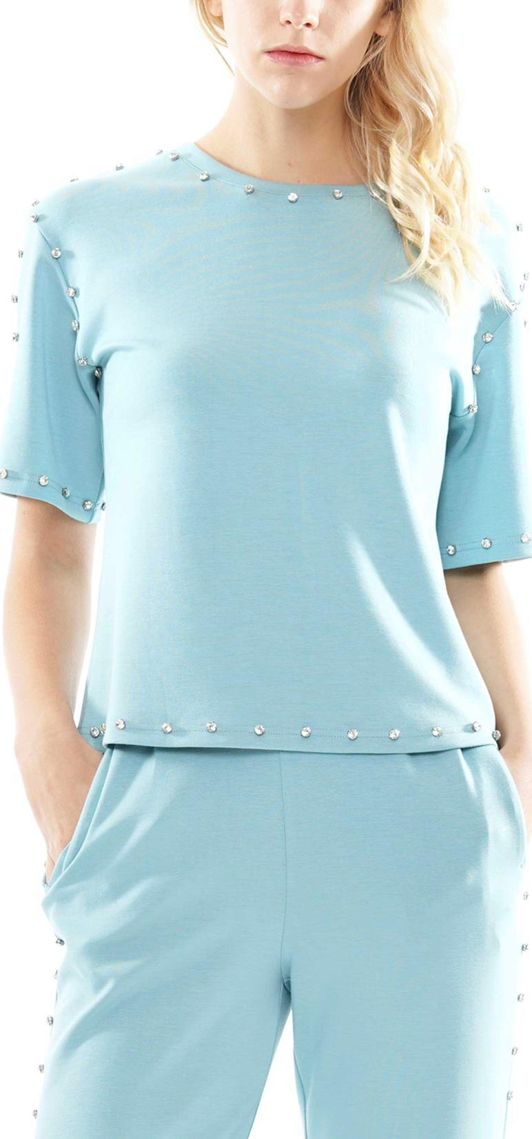 Lyocell T-Shirt with Gemstone Trim Top
