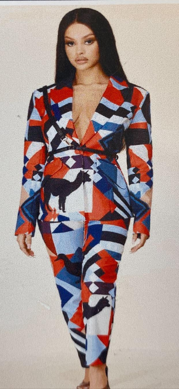 Chel's Abstract Print Pantsuit