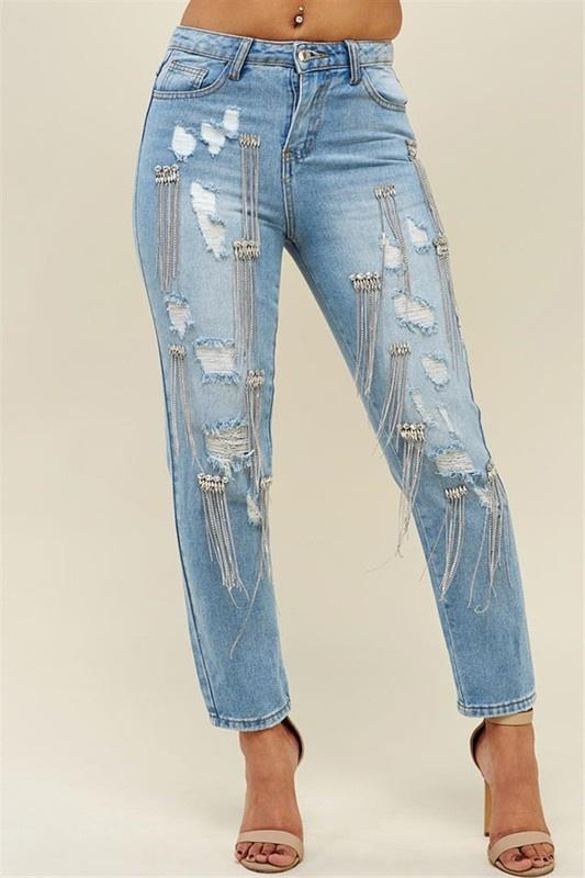 Mom's Fit Rhinestone Jeans