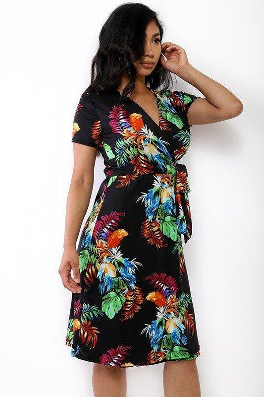 Midi Dress With Waist Tie