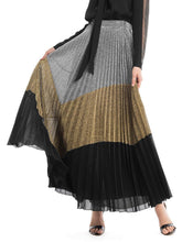 Load image into Gallery viewer, Chel's Glamour Three Different Metallic Pleated Skirt