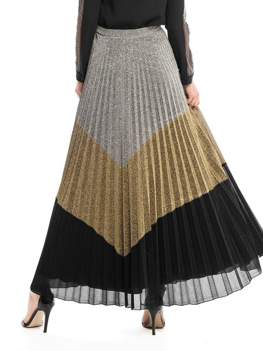 Chel's Glamour Three Different Metallic Pleated Skirt
