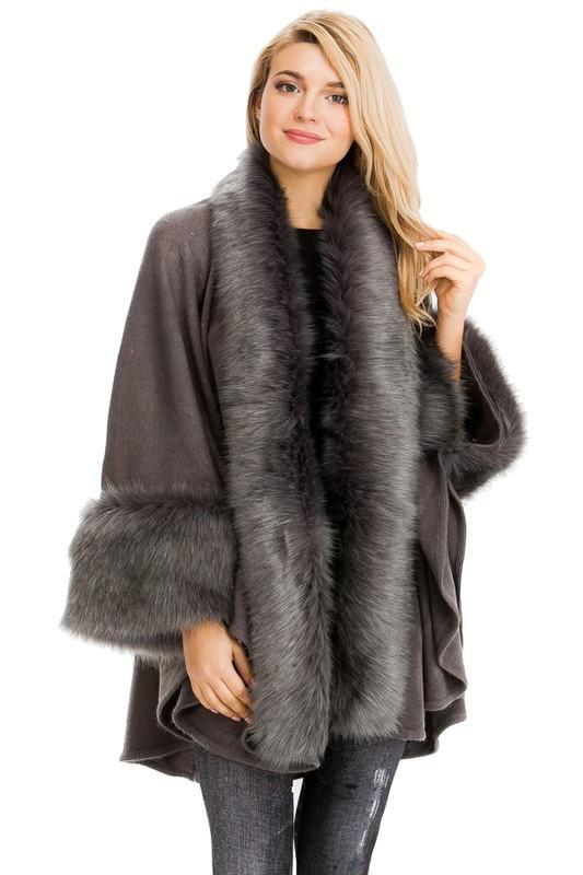 Chel's Faux Fur Layered Shawl One Size
