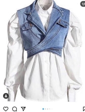 Load image into Gallery viewer, CHEL'S BUTTON DOWN TOP WITH DENIM VEST