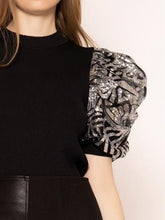 Load image into Gallery viewer, Chel's Spangle Half Sleeve Detailed Fitted Top
