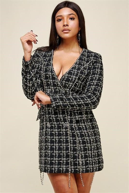 Tweed Rhinestone Jacket Dress