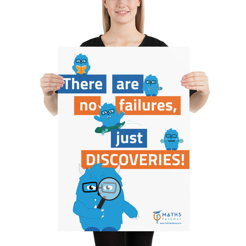 """No failures, just discoveries"" Growth Mindset Poster featuring Gromo, the Growth Monster (Version 2)"