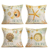 "Hopyeer 4Pcs Vintage Wood Ocean Quote Words Throw Pillow Covers Decorative Beach Retro Rustic Farm Plank with Inspiration Saying Cotton Linen Pillowcase Home Cushion Cover 18""x18"" (WO-Quote)"