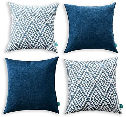 "Home Plus Throw Pillow Covers Set of 4, 17""x17"" Decorative Geometric Style Cushion Pillowcase for Couch Living Room Office Car Gift, Navy Blue"
