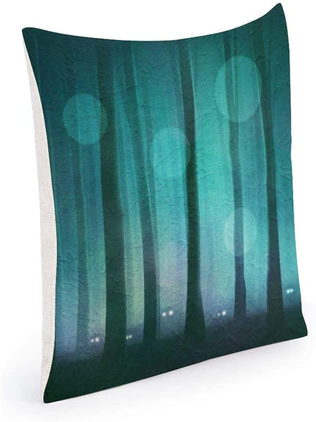 N/ A Dawn Forest Decorative Nature Scenery Throw Pillow Cover Teal Tree Linen Outdoor Collection Cushion Cover Rustic Cool Tone Square 24x24 Inches for Couch Sofa