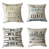 4 Pack Farmhouse Decorative Pillow Cover Home Decor Cotton Linen Nautical Style Throw Pillow Covers Set of 4 Rustic Sofa Throw Pillow Case Cushion Cover 18 x 18 Inch(Arrow,Map,Ship,Compass)