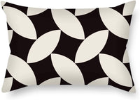 FJPT Black Beige Lattice Rectangle Pillow Cover Car Bed Decoration Rustic Oblong Pillow Cover Hidden Zipper Two Sides