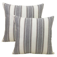 "BLUETTEK Cool Stripe Pillow Cases Cotton Linen Square Decorative Throw Cushion Cover-18"" x 18"" (Light Gray)"