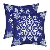 CaliTime Pack of 2 Cozy Fleece Throw Pillow Cases Covers for Couch Bed Sofa Christmas Snowflakes 20 X 20 Inches Teal
