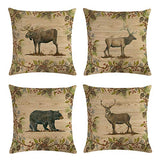 Decroitem Vintage Wild Animals Deer Elk Moose Bear Throw Pillow Covers Fall Decor Wildlife in Forest Mountain Cotton Linen Cushion Cover Pillow Cases 18 x 18 inches (Animals 5)