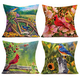 "Smilyard Farmhouse Pillow Cover 18""x18"" Set of 4 Rustic Farm Animal Rooster Hen Cow Pig Rustic Throw Pillow Cases Vintage Words Cushion Covers  for Home Couch (VAP 4PC 06)"