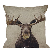 HGOD DESIGNS Moose Throw Pillow Case Cotton Linen Square Cushion Cover Standard Pillowcase for Men Women Home Decorative Sofa Armchair Bedroom Livingroom 18 x 18 inch