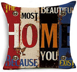 Decorative Throw Pillow Covers Retro Motto Mediterranean Hand-Painted Letter Linen Pillow Square Cushion Cover with Zipper for Sofa, Set of 4, Light Linen,18 x 18 inches 45 x 45 cm