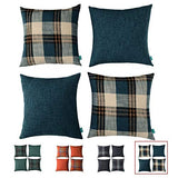 "hpuk Set of 4 Linen Look Plaid Throw Pillow Cover Decorative Cushion Pillowcase for Bed Sofa Couch Car, 17""X17"", Red Clay"