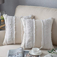 DEZENE Decorative Throw Pillow Covers for Couch Sofa Bed, 2 Pack 100% Cotton Square Pillow Cases, Woven Tufted Pillowcases with Tassels, Accent Boho Cushion Covers for Farmhouse, Kids, 18 x 18 Inch