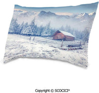 "SCOCICI Cotton Double-sided Printing Rectangle Pillows Covers,20""x26"",Old Farmhouse in Snow Season Mountains and Frosted Forest Rustic Life Photography Decorative,Print Zippered Throw Pillow Covers Co"
