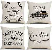 NYDECOR Farmhouse Throw Pillow Covers Quote Pillow Case Cotton Linen Rustic Farm Cushion Cover for Couch Sofa Bed 18x18 Set of 4 Farmhouse Decor Housewarming Gifts
