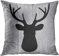 Emvency Set of 4 Throw Pillow Covers Deer Rustic Watercolor Head Popular Vintage Antlers Silhouette Pattern Wood Decorative Pillow Cases Home Decor Square 18x18 Inches Pillowcases