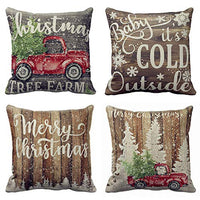 "Hopyeer 4Pcs Vintage Wood Rustic Farmhouse Decor Throw Pillow Covers Retro Fresh Farm Animals Pig Cow Big Rooster Sheep Quote Cotton Linen Pillowcase for Sofa Chair Cushion Case Cover18""x18"" (WR-Farm)"
