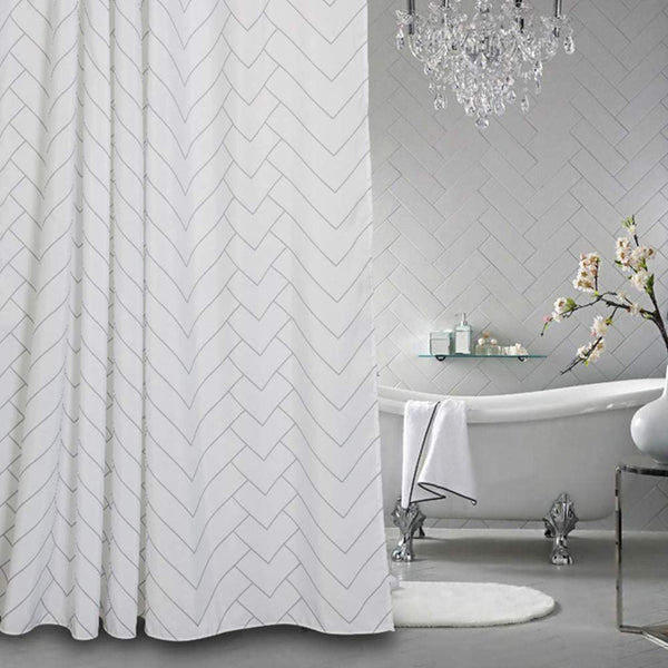 Aimjerry Hotel Quality White Striped Fabric Shower Curtain for Bathroom, Washable 72 X 72 Inch