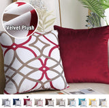 H.VERSAILTEX Decorative New Luxury Series Style Modern Velvet Plush Highly Durable Geometric Rustic Printed Design Taupe and Red Geo Pattern Plus Solid Red Pillow Covers for Bed, 18 x 18 Inch