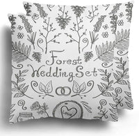 Throw Pillow Covers Pack of 2 Hipster Fern Vintage of Floral Rustic Forest Wedding Symbols and Black Outline on White Leaf Hand Polyester Cushion Case Square Cover Home Decor 20 x 20 Inches