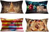 "Hopyeer California Forest Wild Bear Xmas Decor Throw Pillow Covers American Rustic Farmhouse Merry Christmas Oil Lamp Pillowcase Cotton Linen Sofa Couch Animal Lumber Cushion Cover 12""x20"" (CF-Lamp)"