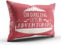 DOUMIFA Red and White Rustic Typography Oh Darling Lets Be Adventurers Home Decoration Throw Pillowcase 16X24 inch Size One Side Design Printed Custom Cushion Cover Case (1-Pack)