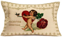 Fukeen Valentine Greeting Throw Pillow Covers 12x20 Inch for Couch with Cupid Red Rose Flower Sweet Heart Saint Valentine's Day Decorative Throw Pillows Cotton Linen Vintage Home Decor Pillow Case