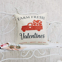 Anickal Valentines Pillow Covers 20x20 Inch for Valentine's Day Decorations Farm Fresh Valentines Truck Decorative Throw Pillow Covers Cotton Linen Cushion Cover for Home Farmhouse Decor