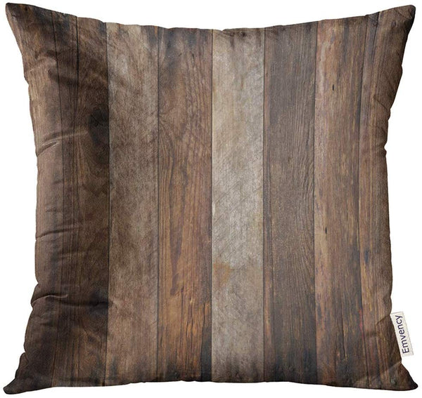 Golee Throw Pillow Cover Brown Rustic Wood Plank Wooden Decorative Pillow Case Home Decor Square 18x18 Inches Pillowcase