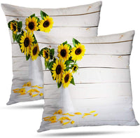 "Darkchocl Daily Decoration Throw Pillow Covers Rustic Country Sunflowers Mason Jar Square Pillowcase Cushion for Couch Sofa or Bed Modern Quality Design Cotton and Polyester 20"" x 20"""