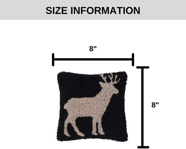 C&F Home Deer Hooked Pillow Petite Tufted Decorative Throw Pillow Rustic Lodge for Couch Chair Living Room Bedroom 8 x 8 Hooked Pillow Deer