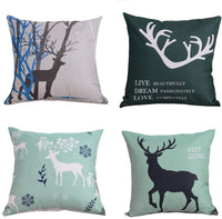 "MOMIKA Vintage Background Wildlife Elk Moose Bear Deer Pine Tree Forest Throw Pillow Covers Cotton Linen Pillowcase Cushion Cover Home Office Decor Square 18"" X 18"" Set of 4"