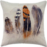 "WFLOSUNVE Farmhouse Feather Decorative Throw Pillow Covers 18""x 18"" Set of 4, Faux Linen Rustic Pillow Case Cushion Cover for Bed and Couch"