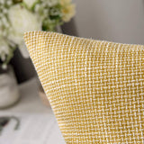 MIULEE Set of 2 Decorative Linen Throw Pillow Covers Cushion Case Triple Button Vintage Farmhouse Pillowcase for Couch Sofa Bed 18 x 18 Inch Yellow