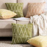MIULEE Pack of 2 Decorative Throw Pillow Covers Geometric Pattern Chenille Cozy Modern Concise Soft Moss Green Square Cushion Shams for Bedroom Sofa Car 18 x 18 Inch