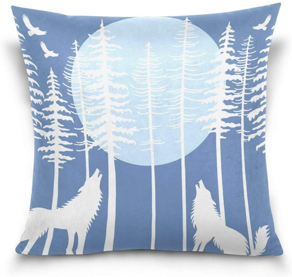 Maozond8 Howling Wolf in Fir Tree Forest Pattern Decorative Throw Pillow Cover Rustic Cushion Cover Pillowcase for Sofa 18 x 18 Inch, No Insert