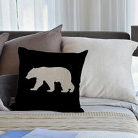 HGOD DESIGNS Throw Pillow Case Black Background Bear Cotton Linen Square Cushion Cover Standard Pillowcase for Men Women Kids Home Decorative Sofa Armchair Bedroom Livingroom 18 x 18 inch